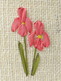 Iris Card silk ribbon embroidery wedding card birthday by bstudio