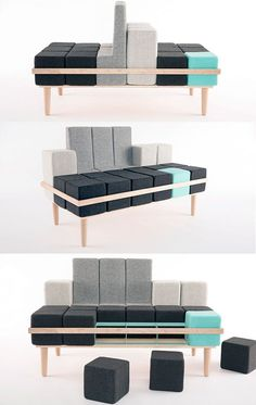 Modern furniture designers tend to create vivid, multifunctional, and space-saving furniture pieces which can also be easily transformed into something else. For example, a bed that can be turned into a sofa, a chair, or a pouf depending on your needs. We are a generation that loves to