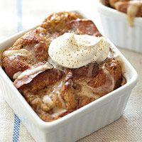 Tiramisu Bread Pudding with Cream Cheese-Whipped Cream Topping