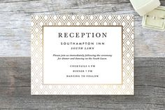 """Gilded Bloom"" - Floral & Botanical, Modern Foil-pressed Reception Cards in Gold by Christie Kelly."
