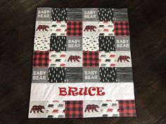 Red and Black Baby Bear Quilt Blanket Rustic Buffalo Check Buffalo Plaid Personalized Bear Nu Plaid Nursery, Bear Nursery, Baby Boy Quilts, Girls Quilts, Black Babies, Minky Fabric, Baby Sewing, Couture, Quilting Designs