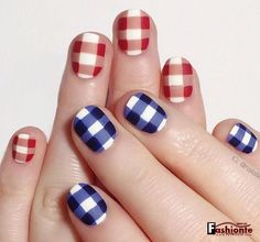 "nailallie: "" Happy (early) Fourth of July! I decided to do these red and blue gingham nails. Have fun and be safe tomorrow! Nail Art Designs, Nail Polish Designs, Nails Design, Nails Opi, Uñas Diy, Patriotic Nails, Seasonal Nails, Holiday Nails, Nail Art Stripes"