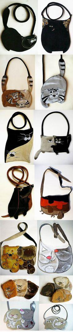 jamnik -----Cute Leatherbags - no tutorial Más Patchwork Bags, Quilted Bag, Sewing Jeans, Diy Sac, Cat Bag, Cat Purse, Fabric Bags, Handmade Bags, My Bags