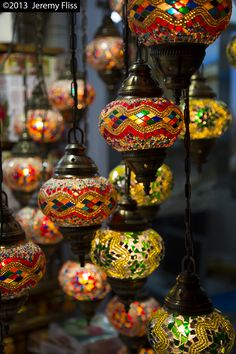 Turkish lamps hang in a small shop in Istanbul.