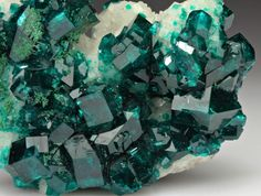 mineralia:    Dioptase with Calcite from Namibia