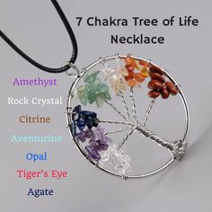 7 Chakra Tree of Life Healing Necklace Benefits and MeaningThe 7 Chakra Tree of Life Healing Necklace Benefits and Meaning Tree Of Life Meaning, Amethyst Rock, Copper Wire Art, Dream Catcher Craft, Chakra Jewelry, Tree Of Life Necklace, Chakra Meditation, Wire Pendant, Tattoos With Meaning
