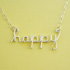 happy necklace sterling silver wire word by PianoBenchDesigns