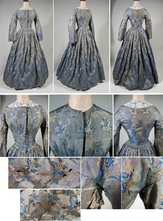 """1860s Civil War Era Victorian Silk Gown in Blue and Grey Damask """"This early 1860s Civil war era dress  has a fitted, whale boned bodice with an attached gathered skirt. The bodice is slim fitting, with dropped shoulders, sleeve caps and  narrow bell sleeves. The waist is piped as are the armsceyes. The front closes with brass hooks and bars. The collar shown is not included.  The fabric is lovely - a silvery grey damask with blue and gold floral sprays."""" via Past Perfect Vintage"""