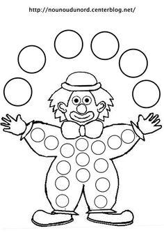 Coloriage à gommettes le clown dessiné par nounoudunord.