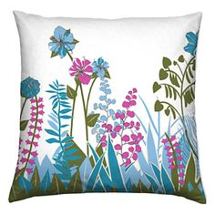 Bright Modern Abstract Floral Pillow  by THESURFACEDESIGNER, $45.00