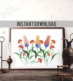 Printable Art Ottoman Tulip Watercolor Painting Turkish Red