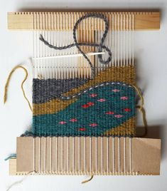 """""""Summer on the lake, anyone? Woven Wall Hanging, Tapestry Wall Hanging, Pin Weaving, Sweet Notes, Fiber Art, Embellishments, Sewing Projects, Reusable Tote Bags, Wool"""