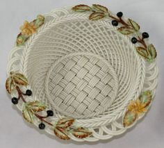 Belleek Fall Four Seasons Parian China Basket Ireland
