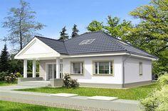 Projekt domu Lucia IV DCB88c 98,82 m2 - koszt budowy 215 tys. zł - EXTRADOM Bungalow Porch, Bungalow House Design, Indian House Plans, Family House Plans, Indian Homes, Better Homes, Shed, Villa, Outdoor Structures