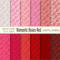 Roses Digital Paper ROMANTIC ROSES RED by DigitalStories on Etsy, €2.80