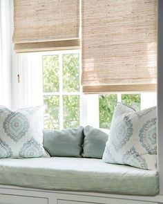 Home Decor Habitacion built in window seat // light blue green and white decor // bamboo shades.Home Decor Habitacion built in window seat // light blue green and white decor // bamboo shades Woven Blinds, Bamboo Blinds, Fabric Blinds, Curtains With Blinds, Blinds For Windows, Living Room Blinds, Bedroom Blinds, House Blinds, Living Room Playroom