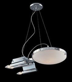 """Trekkie or not, this chandelier will probably turn some heads, no matter what. The lamp, inspired by the Enterprise starship from Star Trek, is part of the """"Novelty Collection"""" by Elk Lighting. It has got a satin Star Trek Enterprise, Elk Lighting, Pendant Lighting, Light Pendant, Novelty Lighting, Star Trek Universe, Star Trek Ships, Star Wars, At Least"""