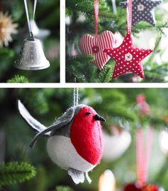 Diferentes productos que incluyen papel de regalo, latas y adornos navideños