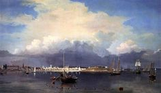 Perfect Oil painting Fitz Hugh Lane - Gloucester Harbor with canoes sail boats