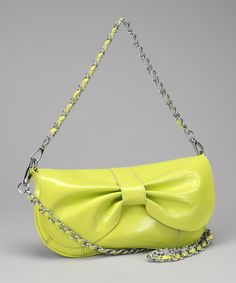 Take a look at this Neon Lime Bow Patent Shoulder Bag by Adhesion, LLC on #zulily today!