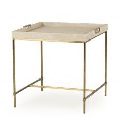 Tray top End Table wrapped in a a faux shagreen in a linen finish on a satin brass finished metal base. Materials: Iron, Poplar solids, MDF Faux shagreen