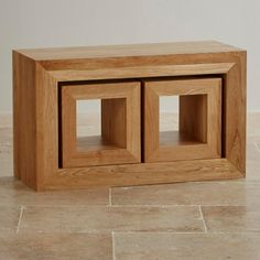 Oakdale Natural Solid Oak Set of 3 Cube Nest of Tables