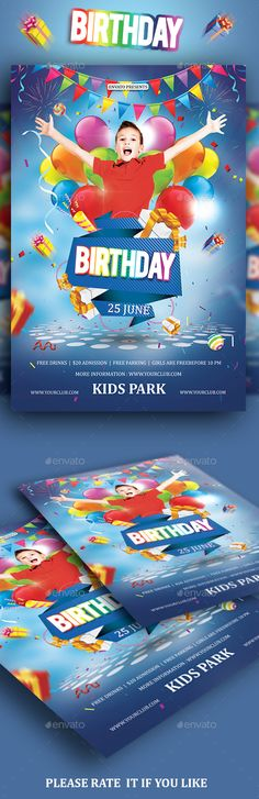 Kids Birthday Party Flyer — Photoshop PSD #boy #colour • Available here → https://graphicriver.net/item/kids-birthday-party-flyer/19470046?ref=pxcr