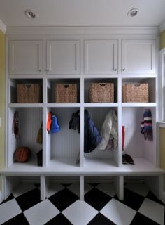 Mudroom design ... i can see something like this.  ours may not be so neat and tidy ... but keeping them organised would be a good thing!