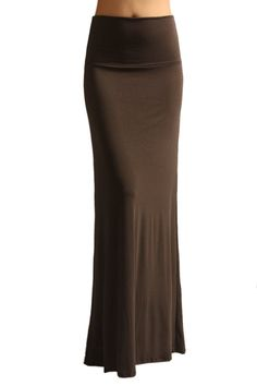 e519ebbcac4 Azules Women S Rayon Span Maxi Skirt - Solid at Amazon Women s Clothing  store  Brown Maxi