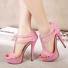 Summer new waterproof fine with shallow mouth buckle high heels foot