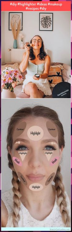 #diy #highlighter #ideas #makeup #recipes #diy Highlighter Makeup, Make Up, Recipes, Diy, Beauty, Ideas, Illuminator Makeup, Bricolage, Makeup