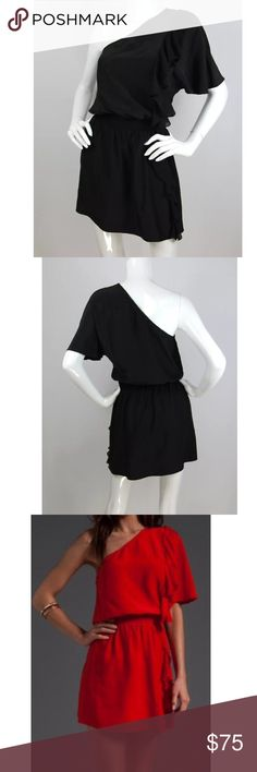 *NEW* Parker Silk One Shoulder Dress (Black, Sz S) An asymmetric, one-shoulder neckline cocktail dress gets a playful finish with a cascading side ruffle detail. Easy silhouette with a defined waist. This dress is new and has never been worn! Color: Black Style: A-line with ruffle detailing at one shoulder & front waist; Smocked stretch waistband A-line style Size: Small Material: 100% Silk Excellent condition - Brand new without tags! Parker Dresses Mini