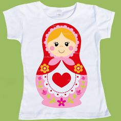 Matryoshka Doll,Nesting Doll, Russian doll, shirt, Valentine T-Shirt, One Piece Baby, Girls Valentine, by ChiTownBoutique.etsy