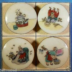 "SET 4 Nursery Rhymes Buttons ""Sing A Song OF Sixpence"" 1950'S Ceramic 1 "" DIA 