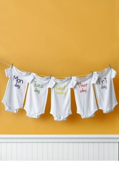 Adorable! Monday to Friday onsies.