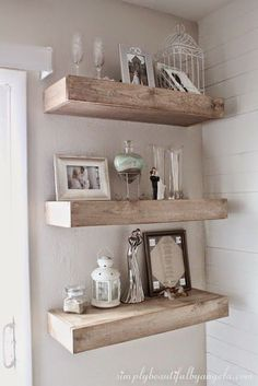 Bighearted contracted diy shabby chic home decor pay less. shabby chic floating shelves, the shabby nest Shabby Chic Mode, Shabby Chic Vintage, Shabby Chic Living Room, Shabby Chic Bedrooms, Shabby Chic Kitchen, Shabby Chic Style, Shabby Chic Furniture, Shabby Chic Decor, White Furniture