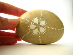 Painted Stone Original handpainted Pebble White Flower with dots. €14.00, via Etsy.