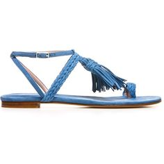 Stuart Weitzman The Tasselites Sandal ($375) ❤ liked on Polyvore featuring shoes, sandals, fringe, flat shoes, flats sandals, leather sole shoes, ankle wrap sandals and flat pumps