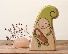 Pine cone  Gnome with Baby  WALDORF Wooden Toy  by Rjabinnik, $9.90  #Rjabinnik #Rounien