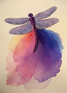 Purple Dragonfly 5 x 7 print from original watercolor painting