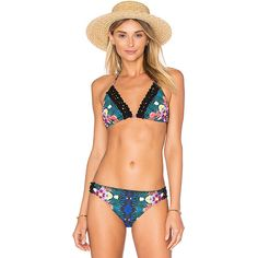 Nanette Lepore Habanera Vixen Bikini Top (125 NZD) ❤ liked on Polyvore featuring swimwear, bikinis, bikini tops, swim, swim top, halter top, tassel bikini, halter neck bikini and halter neck bikini top