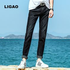 >> Click to Buy << LIGAO 2017 Men's Jeans Trousers Long Jeans Slim Straight Washing Trousers Mens Denim Jeans Pants Male Casual Pant Black Color #Affiliate