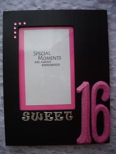 sweet 16 black and pink tabletop frame 1000 via etsy
