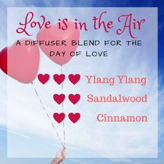 Love is in the air Valentine's Day diffuser blend. Featuring Ylang Ylang, sandalwood and cinnamon essential oils. www.gotoilsupplies.com #aromatheray #essentialoils #essentialoillifestyle #gotoilsupplies #diffuserblend
