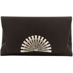 Inge Christopher Stella Black Silk Charmeause Clutch featuring polyvore, women's fashion, bags, handbags, clutches, black, evening bags, kiss lock handbags, evening handbags, special occasion clutches and evening hand bags