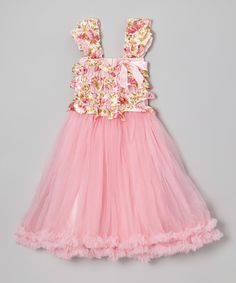 Another great find on #zulily! Pink Floral Ruffle Tulle Babydoll Dress - Infant, Toddler & Girls #zulilyfinds
