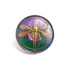 BUT0067 31mm Green Purple Dragonfly Czech Glass Button