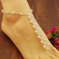 Nuevo diseño descalzo sandalia novia de la playa del babero de la perla de la joyería del pie Ankle Bracelet Chain joyería de perlas