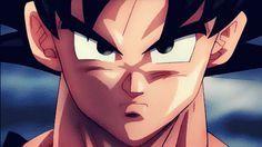 Gif espectacular de Son Goku transformándose en SuperSaiyan.