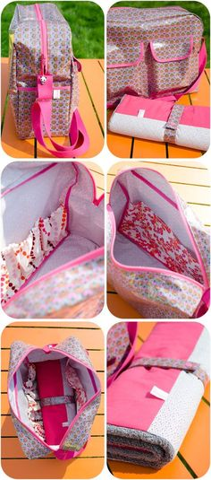 Ces derniers temps, j'ai fait des sacs à langer... (mais toujours pas le notre). Celui d'Elise est bien coloré, en tissu enduit Kakinoki gris de hcez...
